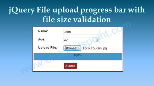 jQuery File upload progress bar with file size validation